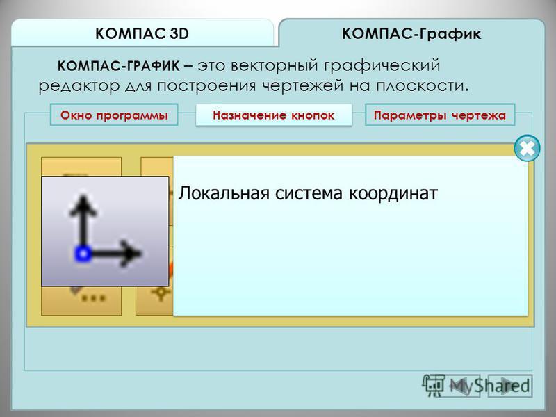КОМПАС 3D КОМПАС-График КОМПАС-ГРАФИК – это векторный графический редактор для построения чертежей на плоскости. Окно программы Назначение кнопок Локальная система координат Локальная система координат Параметры чертежа