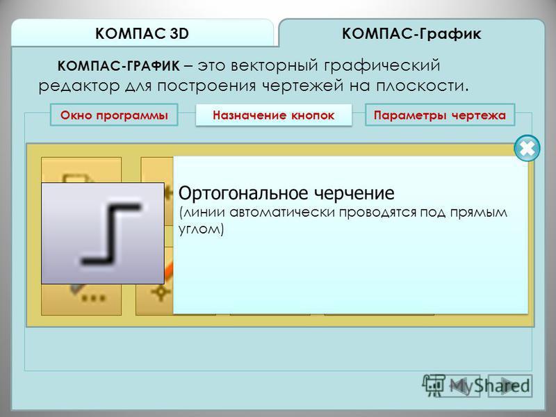 КОМПАС 3D КОМПАС-График КОМПАС-ГРАФИК – это векторный графический редактор для построения чертежей на плоскости. Окно программы Назначение кнопок Ортогональное черчение (линии автоматически проводятся под прямым углом) Ортогональное черчение (линии а