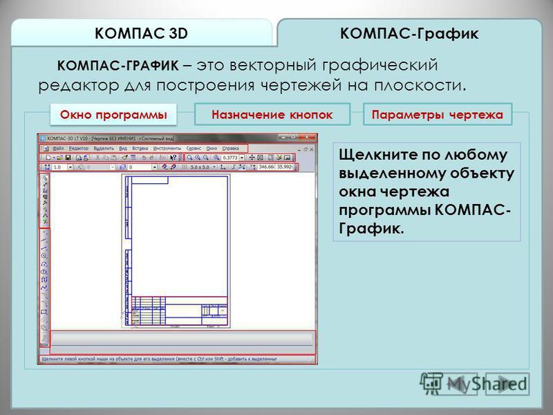 КОМПАС 3D КОМПАС-График КОМПАС-ГРАФИК – это векторный графический редактор для построения чертежей на плоскости. Окно программы Назначение кнопок Параметры чертежа Щелкните по любому выделенному объекту окна чертежа программы КОМПАС- График.