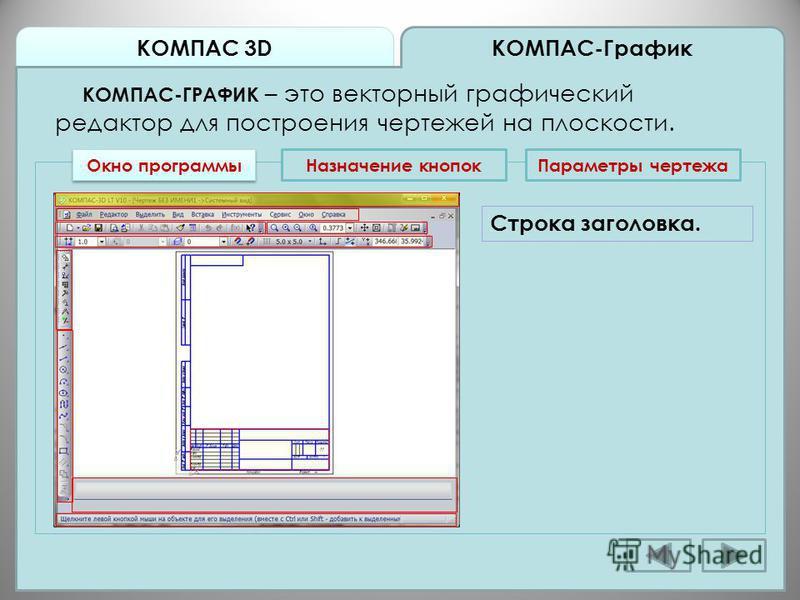 КОМПАС 3D КОМПАС-График КОМПАС-ГРАФИК – это векторный графический редактор для построения чертежей на плоскости. Окно программы Назначение кнопок Строка заголовка. Параметры чертежа