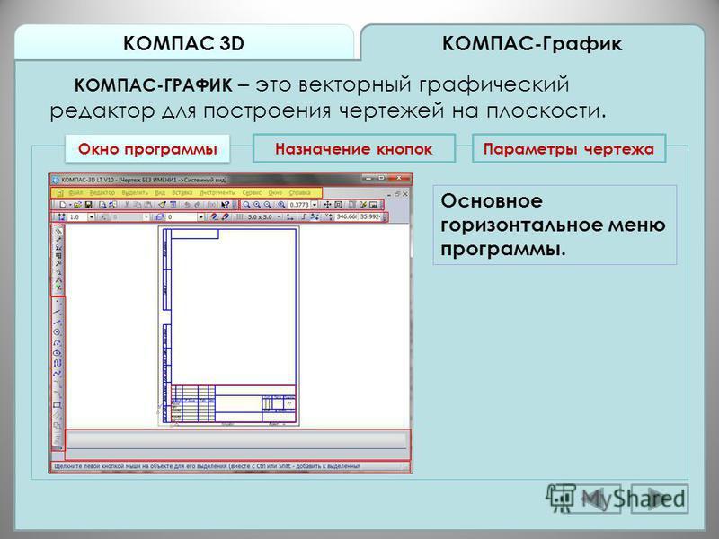 КОМПАС 3D КОМПАС-График КОМПАС-ГРАФИК – это векторный графический редактор для построения чертежей на плоскости. Окно программы Назначение кнопок Основное горизонтальное меню программы. Параметры чертежа
