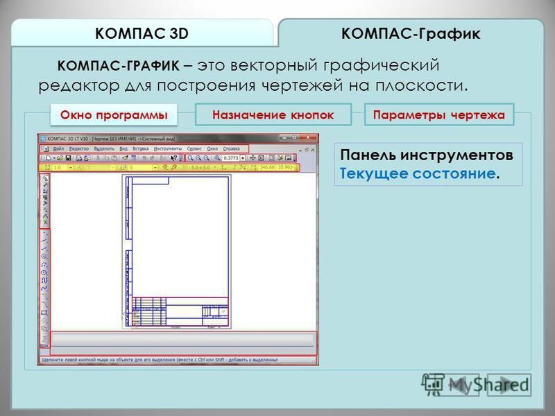 КОМПАС 3D КОМПАС-График КОМПАС-ГРАФИК – это векторный графический редактор для построения чертежей на плоскости. Окно программы Назначение кнопок Панель инструментов Текущее состояние. Параметры чертежа