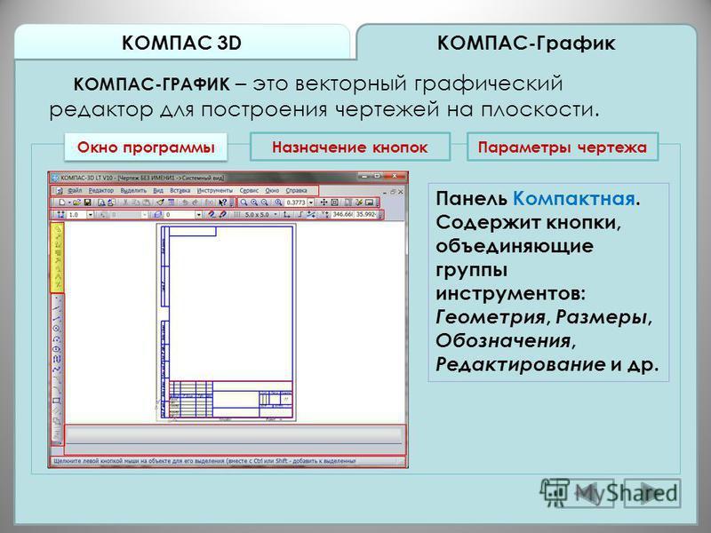 КОМПАС 3D КОМПАС-График КОМПАС-ГРАФИК – это векторный графический редактор для построения чертежей на плоскости. Окно программы Назначение кнопок Панель Компактная. Содержит кнопки, объединяющие группы инструментов: Геометрия, Размеры, Обозначения, Р