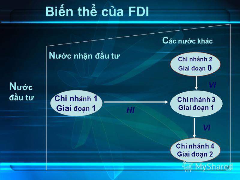 16 Bin th ca FDI Chi nh ánh 1 Giai đon 1 Chi nhánh 3 Giai đon 1 HI Chi nhánh 2 Giai đon 0 Chi nhánh 4 Giai đon 2 N ưc đu tư C ác nưc khác VI N ưc nhn đu tư VI