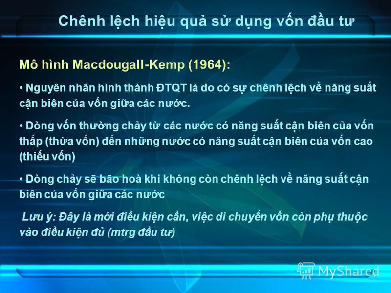 20 Chênh lch hiu qu s dng vn đu tư Mô hình Macdougall-Kemp (1964): Nguyên nhân hình thành ĐTQT là do có s chênh lch v năng sut cn biên ca vn gia các nưc. Dòng vn thưng chy t các nưc có năng sut cn biên ca vn thp (tha vn) đn nhng nưc có năng sut cn bi