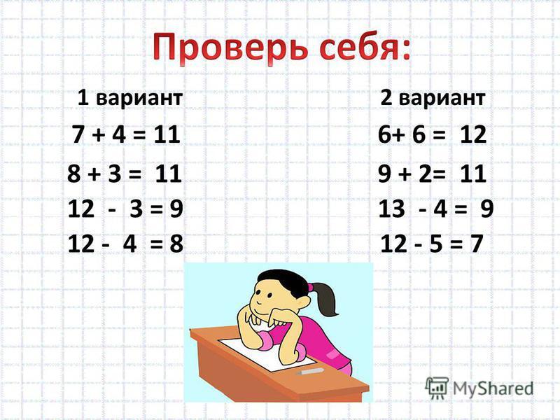 1 вариант 2 вариант 7 + 4 = 11 8 + 3 = 11 12 - 3 = 9 12 - 4 = 8 6+ 6 = 12 9 + 2= 11 13 - 4 = 9 12 - 5 = 7