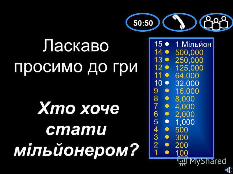 15 14 13 12 11 10 9 8 7 6 5 4 3 2 1 1 Mільйон 500,000 250,000 125,000 64,000 32,000 16,000 8,000 4,000 2,000 1,000 500 300 200 100 Ласкаво просимо до гри Хто хоче стати мільйонером? 50:50