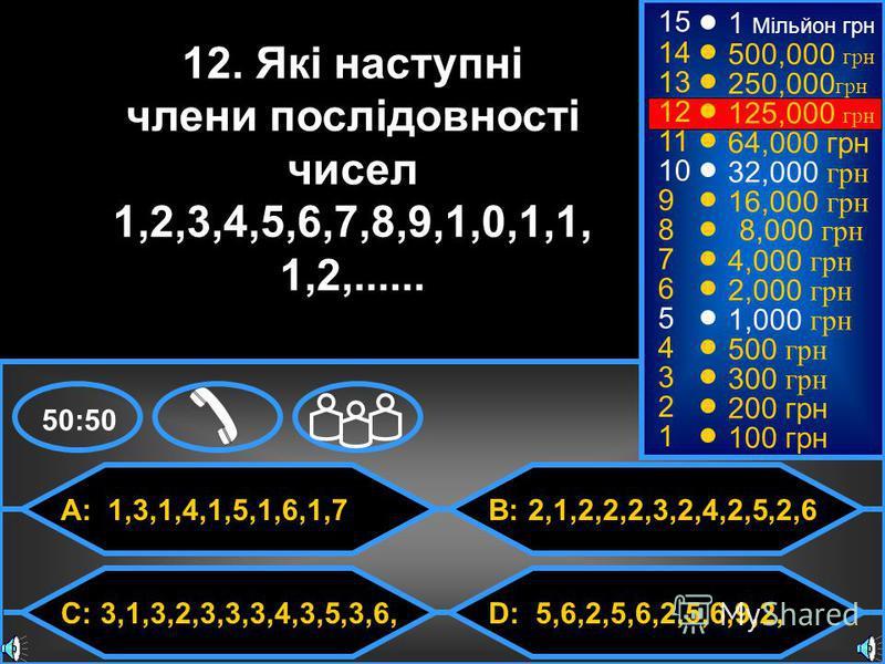 © Mark E. Damon - All Rights Reserved A: 1,3,1,4,1,5,1,6,1,7 C: 3,1,3,2,3,3,3,4,3,5,3,6, B: 2,1,2,2,2,3,2,4,2,5,2,6 D: 5,6,2,5,6,2,5,6,9,2, 50:50 15 14 13 12 11 10 9 8 7 6 5 4 3 2 1 12. Які наступні члени послідовності чисел 1,2,3,4,5,6,7,8,9,1,0,1,1