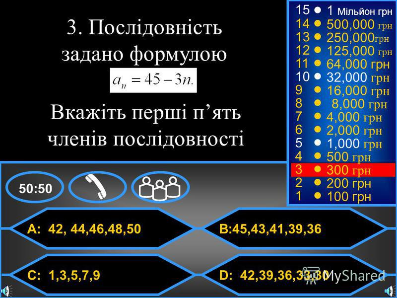© Mark E. Damon - All Rights Reserved A: 42, 44,46,48,50 C: 1,3,5,7,9 B:45,43,41,39,36 D: 42,39,36,33,30 50:50 15 14 13 12 11 10 9 8 7 6 5 4 3 2 1 3. Послідовність задано формулою 1 Мільйон грн 500,000 грн 250,000 грн 125,000 грн 64,000 грн 32,000 гр