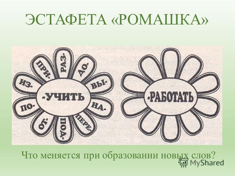 ЭСТАФЕТА «РОМАШКА» Что меняется при образовании новых слов?