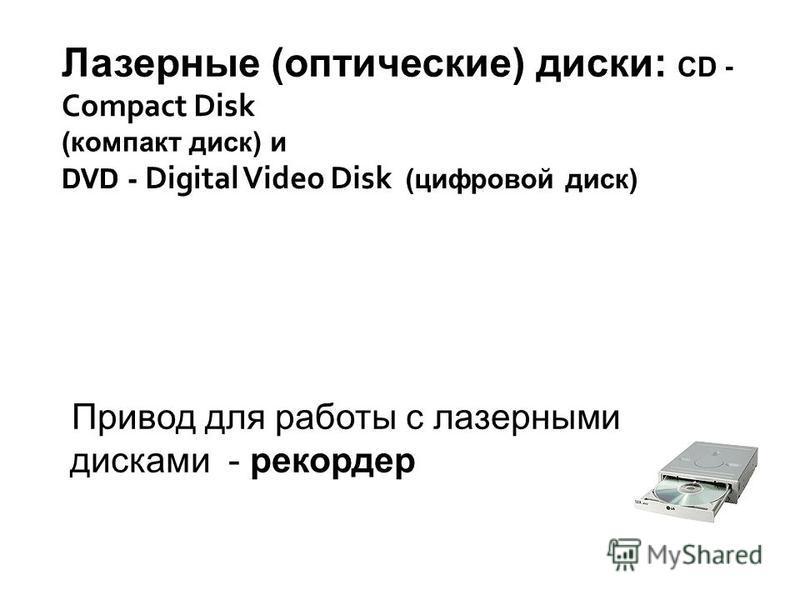 Привод для работы с лазерными дисками - рекордер