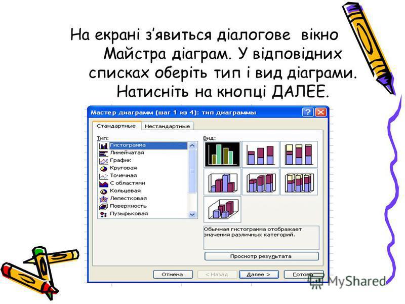 На екрані зявиться діалогове вікно Майстра діаграм. У відповідних списках оберіть тип і вид діаграми. Натисніть на кнопці ДАЛЕЕ.