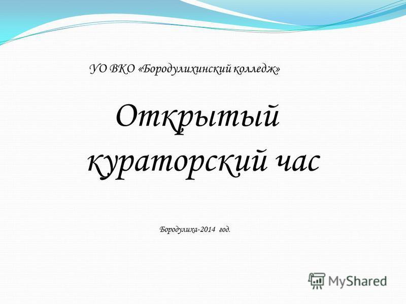 УО ВКО «Бородулихинский колледж» Открытый кураторский час Бородулиха-2014 год.