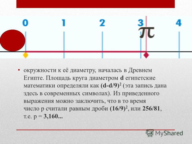 История числа p, выражающего отношение длины окружности к её диаметру, началась в Древнем Египте. Площадь круга диаметром d египетские математики определяли как (d-d/9) 2 (эта запись дана здесь в современных символах). Из приведенного выражения можно