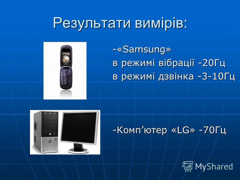 Результати вимірів: -«Samsung» в режимі вібрації -20Гц в режимі дзвінка -3-10Гц -Компютер «LG» -70Гц