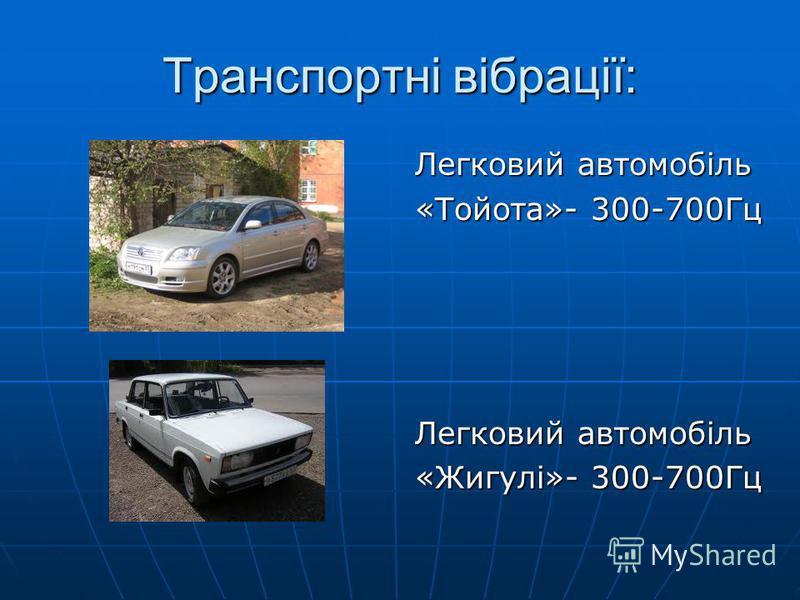 Транспортні вібрації: Легковий автомобіль «Тойота»- 300-700Гц Легковий автомобіль «Жигулі»- 300-700Гц