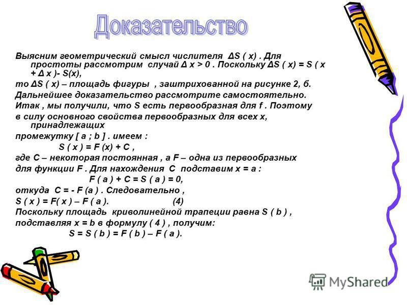 Выясним геометрический смысл числителя ΔS ( x). Для простоты рассмотрим случай Δ x > 0. Поскольку ΔS ( x) = S ( x + Δ x )- S(x), то ΔS ( x) – площадь фигуры, заштрихованной на рисунке 2, б. Дальнейшее доказательство рассмотрите самостоятельно. Итак,