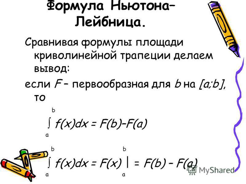 Формула Ньютона– Лейбница. Сравнивая формулы площади криволинейной трапеции делаем вывод: если F – первообразная для b на [a;b], то b f(x)dx = F(b)–F(a) a b b f(x)dx = F(x) = F(b) – F(a) a a