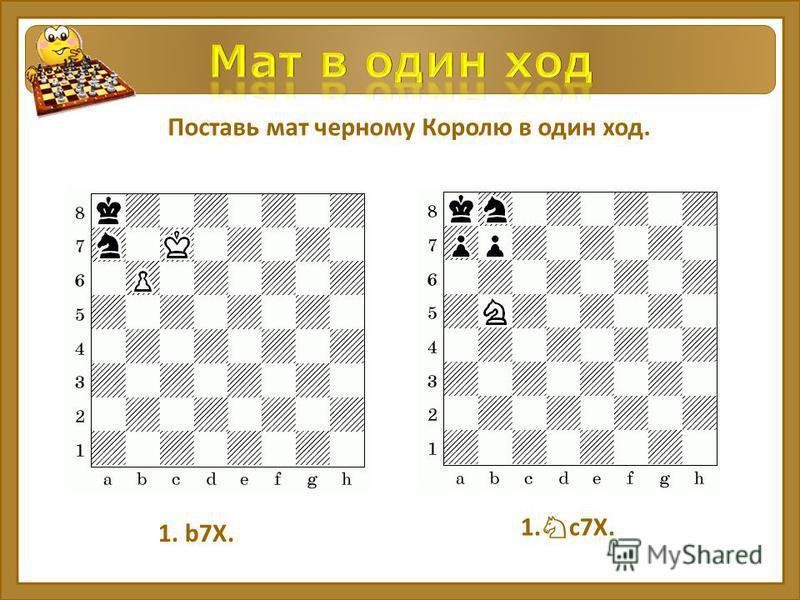 Поставь мат черному Королю в один ход. 1. b7Х. 1. с 7Х.