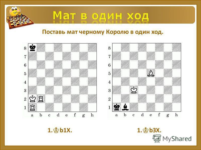 Поставь мат черному Королю в один ход. 1. b1Х.1. bЗХ.