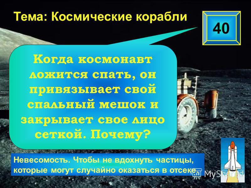 40 Тема: Космические корабли Невесомость. Чтобы не вдохнуть частицы, которые могут случайно оказаться в отсеке. Когда космонавт ложится спать, он привязывает свой спальный мешок и закрывает свое лицо сеткой. Почему?