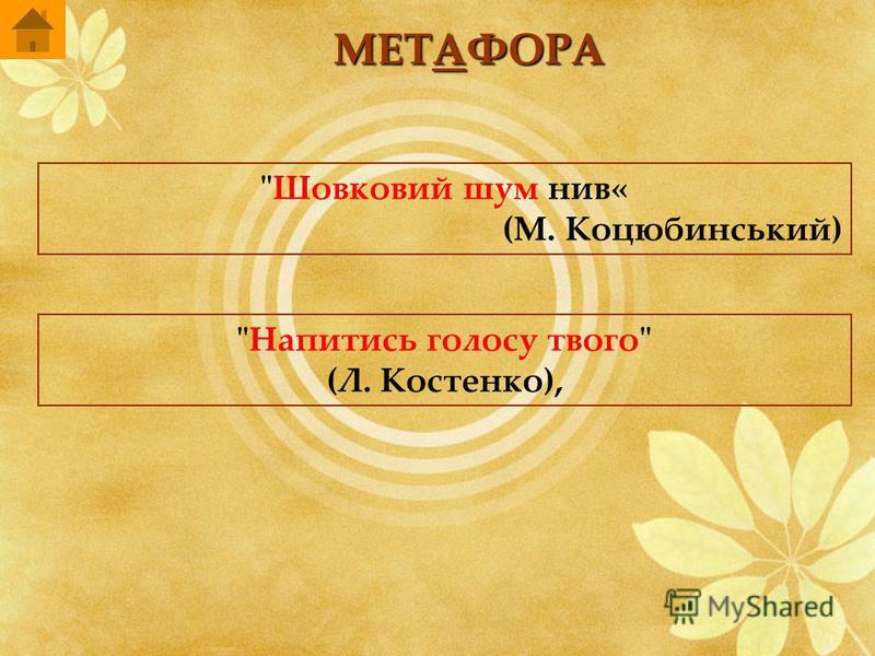 МЕТАФОРА Шовковий шум нив« (М. Коцюбинський) Напитись голосу твого (Л. Костенко),