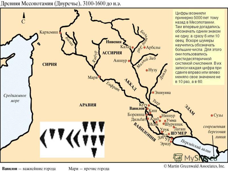 Цифры возникли примерно 5000 лет тому назад в Месопотамии. Там впервые догадались обозначать одним знаком не одну, а сразу 6 или 10 овец. Вскоре шумеры научились обозначать большие числа. Для этого они пользовались шестидесятеричной системой счислени