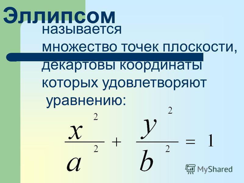 называется множество точек плоскости, декартовы координаты которых удовлетворяют уравнению: Эллипсом