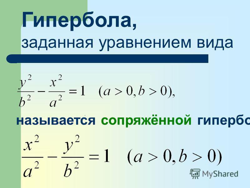 Гипербола, заданная уравнением вида называется сопряжённой гиперболе.