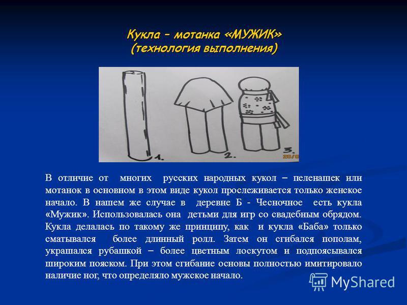 Кукла – мотанка «МУЖИК» (технология выполнения) В отличие от многих русских народных кукол – пеленашек или мотанок в основном в этом виде кукол прослеживается только женское начало. В нашем же случае в деревне Б - Чесночное есть кукла « Мужик ». Испо