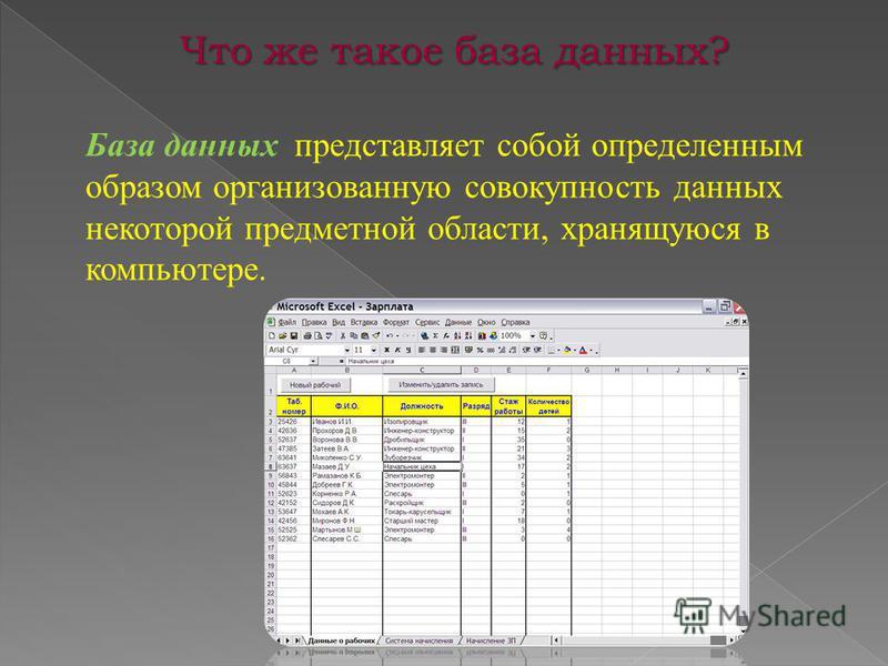 Что же такое база данных? База данных представляет собой определенным образом организованную совокупность данных некоторой предметной области, хранящуюся в компьютере.