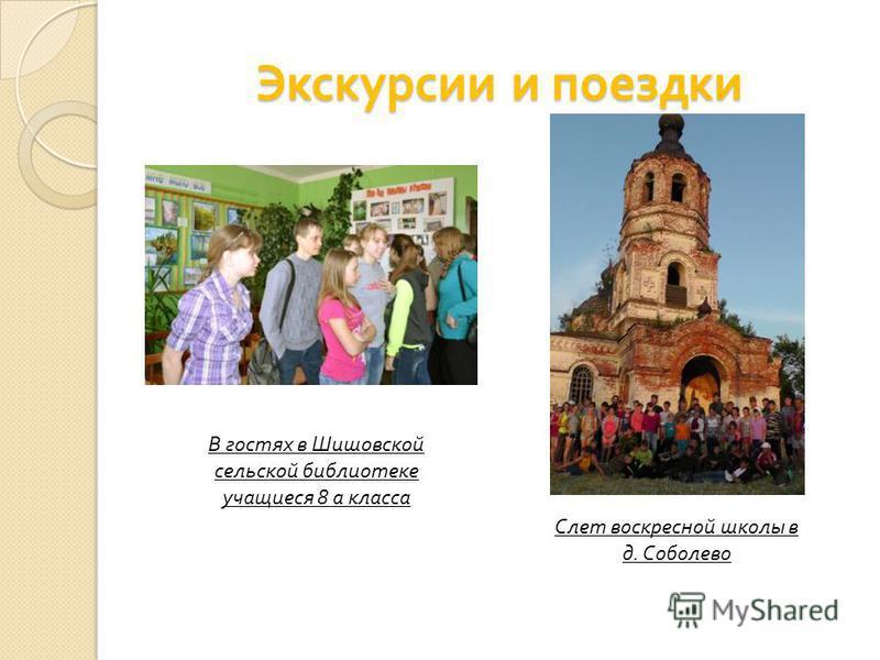 Экскурсии и поездки В гостях в Шишовской сельской библиотеке учащиеся 8 а класса Слет воскресной школы в д. Соболево