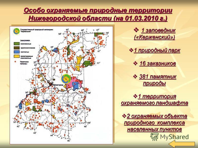 Особо охраняемые природные территории Нижегородской области (на 01.03.2010 г.) 1 заповедник («Керженский») 1 заповедник («Керженский») 1 природный парк 1 природный парк 16 заказников 16 заказников 381 памятник природы 381 памятник природы 1 территори