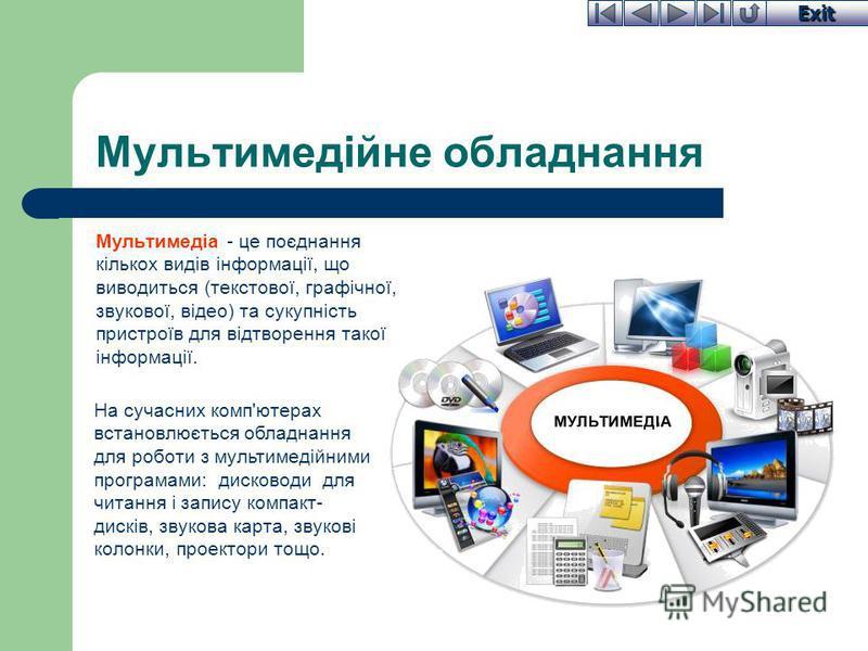 Exit Мультимедійне обладнання Мультимедіа - це поєднання кількох видів інформації, що виводиться (текстової, графічної, звукової, відео) та сукупність пристроїв для відтворення такої інформації. На сучасних комп'ютерах встановлюється обладнання для р