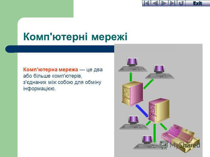 Exit Комп'ютерні мережі Комп'ютерна мережа це два або більше комп'ютерів, з'єднаних між собою для обміну інформацією.