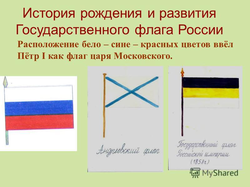 История рождения и развития Государственного флага России Расположение бело – сине – красных цветов ввёл Пётр I как флаг царя Московского.