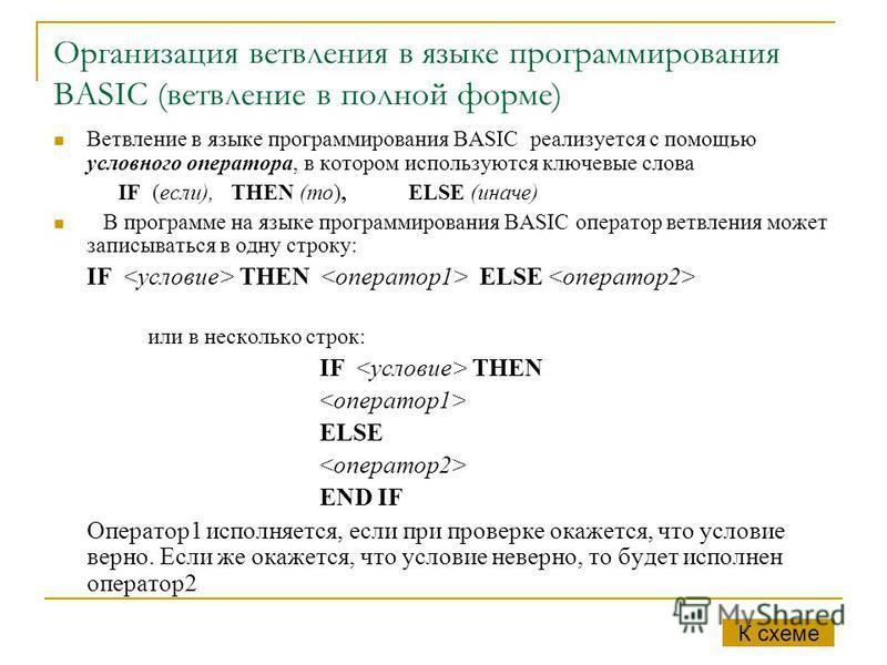 Организация ветвления в языке программирования BASIC (ветвление в полной форме) Ветвление в языке программирования BASIC реализуется с помощью условного оператора, в котором используются ключевые слова IF (если), THEN (то), ELSE (иначе) В программе н