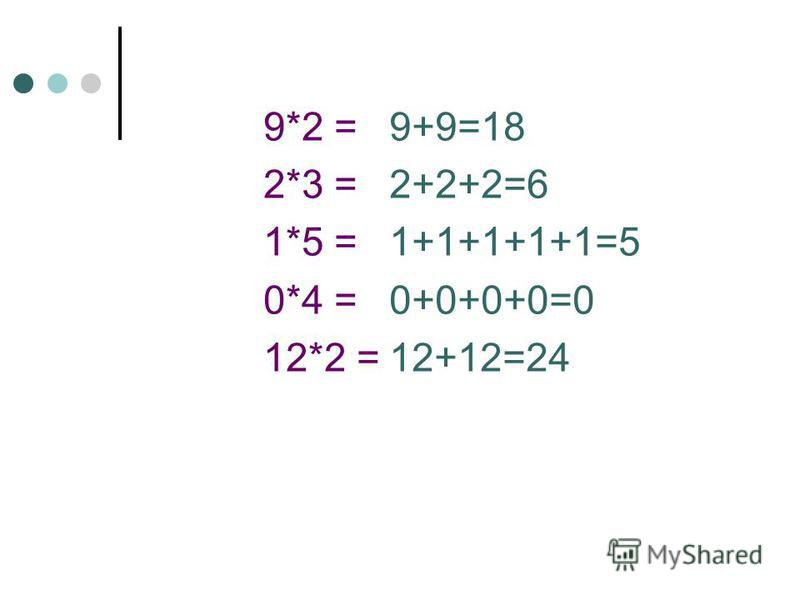 9*2 = 2*3 = 1*5 = 0*4 = 12*2 = 9+9=18 2+2+2=6 1+1+1+1+1=5 0+0+0+0=0 12+12=24