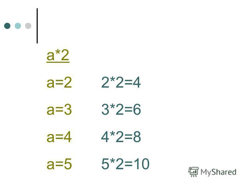 а*2 а=2 а=3 а=4 а=5 2*2=4 3*2=6 4*2=8 5*2=10