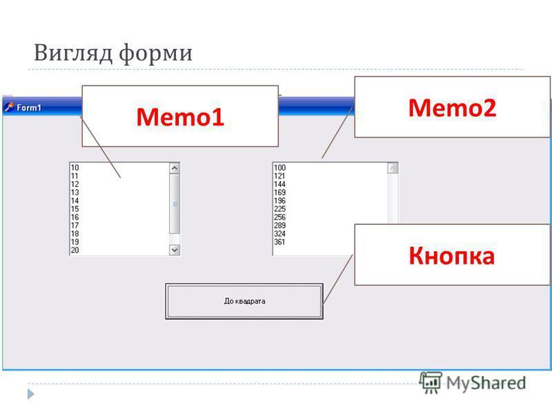 Вигляд форми Memo2 Memo1 Кнопка