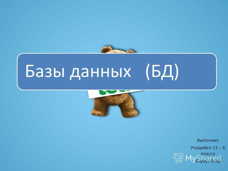 Базы данных (БД) Выполнил Учащийся 11 – Б класса Корхут Егор