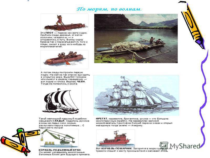 В о д н ы й Транспорт по воде Морской, речной – катера, теплоходы
