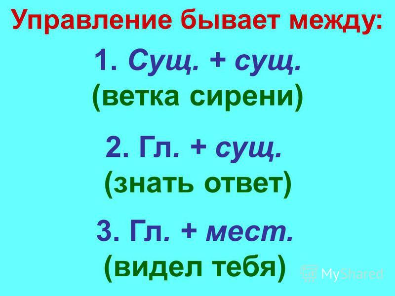 Управление бывает между: 1. Сущ. + сущ. (ветка сирени) 2. Гл. + сущ. (знать ответ) 3. Гл. + мест. (видел тебя)