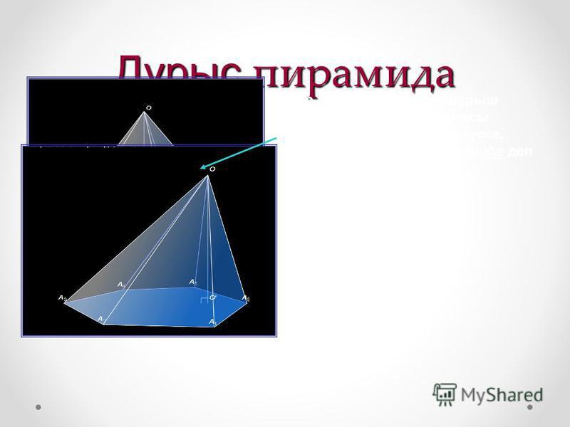 Дұрыс пирамида Егер табаны дұрыс көпбұрыш болып төбесінің проекциясы табанының центріне дәл түссе, онда пирамида дұрыс пирамида деп аталады..
