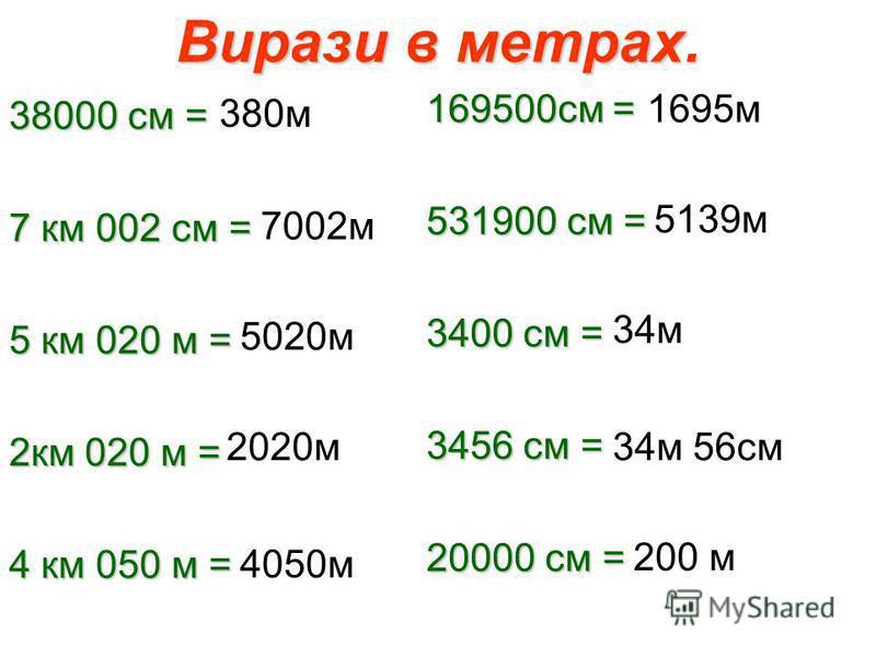 Вирази в метрах. 38000 см = 7 км 002 см = 5 км 020 м = 2км 020 м = 4 км 050 м = 169500см = 531900 см = 3400 см = 3456 см = 20000 см = 380м 7002м 5020м 2020м 4050м 1695м 5139м 34м 34м 56см 200 м
