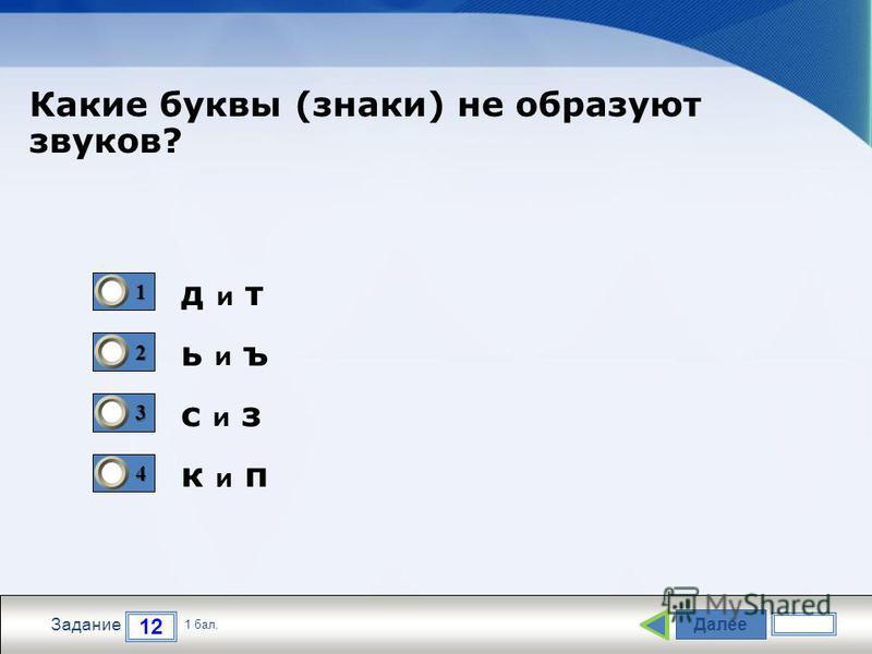 Далее 12 Задание 1 бал. 1111 2222 3333 4444 д и т ь и ъ с и з к и п Какие буквы (знаки) не образуют звуков?