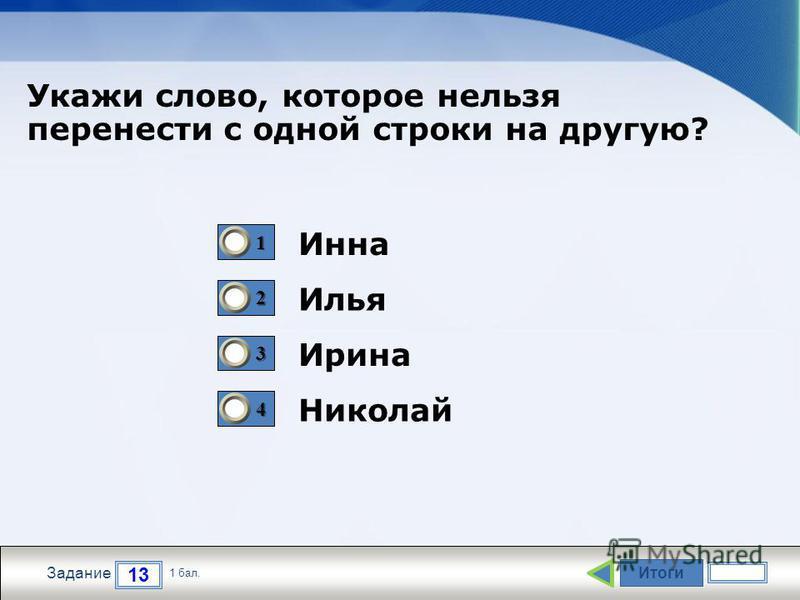 Итоги 13 Задание 1 бал. 1111 2222 3333 4444 Инна Илья Ирина Николай Укажи слово, которое нельзя перенести с одной строки на другую?
