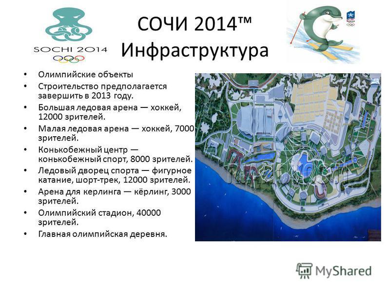 СОЧИ 2014 Инфраструктура Олимпийские объекты Строительство предполагается завершить в 2013 году. Большая ледовая арена хоккей, 12000 зрителей. Малая ледовая арена хоккей, 7000 зрителей. Конькобежный центр конькобежный спорт, 8000 зрителей. Ледовый дв