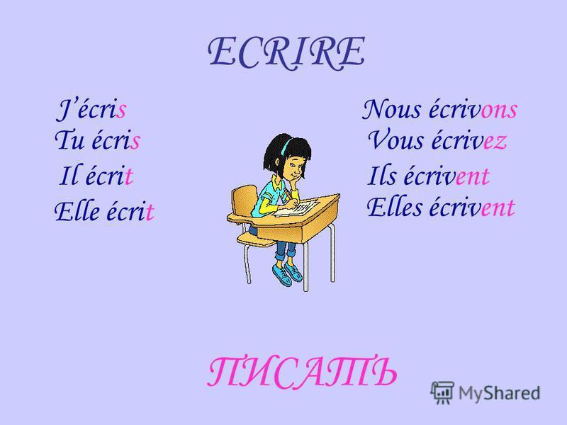 Вставь в предложение нужную форму глагола LIRE и переведи Je _________ un livre intéressant. lis Nous __________ un journal. lisons Les enfants _________ des poésies françaises. lisent Mon père ________ un roman historique. lit