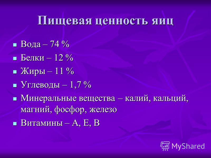 Пищевая ценность яиц Вода – 74 % Вода – 74 % Белки – 12 % Белки – 12 % Жиры – 11 % Жиры – 11 % Углеводы – 1,7 % Углеводы – 1,7 % Минеральные вещества – калий, кальций, магний, фосфор, железо Минеральные вещества – калий, кальций, магний, фосфор, желе